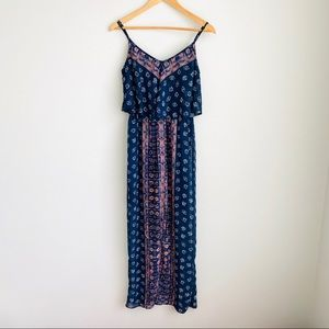 Express Navy Floral Print Flowy Maxi Dress Sz XS